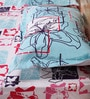 Mark Home Age Floral Blue & Pink Cotton Abstract Bed Sheet (with Pillow Covers) - Set of 3