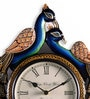 Multicolour MDF 16 x 2 x 12 Inch Peacock Shaped Wall Clock by Marwar Stores