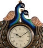 Multicolour MDF 18 x 2 x 24 Inch Peacock Shaped Wall Clock by Marwar Stores