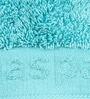 Light Blue Cotton Embossed Hand Towel by Maspar