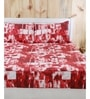 Wayfair Red Printed 1 Double Bed Sheet with 2 Pillow Covers by Maspar