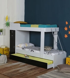 McHannah Storage Bunk Bed With Trundle In Black White