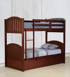 McXander Bunk Bed With Pull Out Bed In Walnut Finish