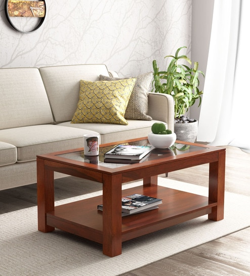 Buy Mckenzy Solid Wood Coffee Table With Glass Top In Honey Oak Finish By Woodsworth Online Contemporary Rectangular Coffee Tables Tables Furniture Pepperfry Product