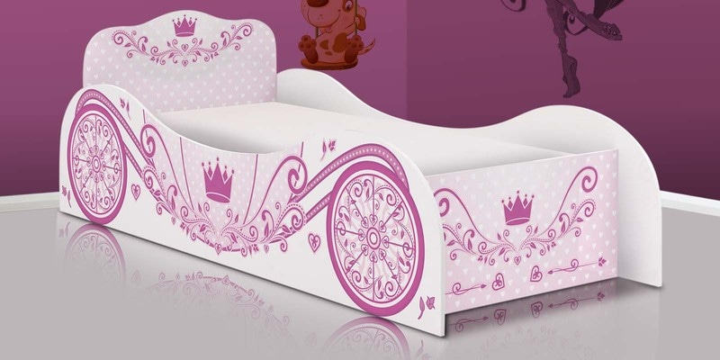 McCindy Cindrella Carriage Bed in Baby Pink Colour by Mollycoddle