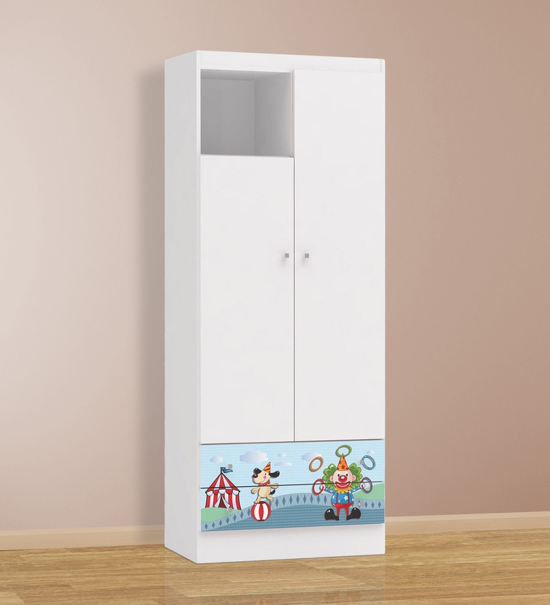 McBozo Small Two Door Wardrobe with Two Drawers in Blue Colour by Mollycoddle