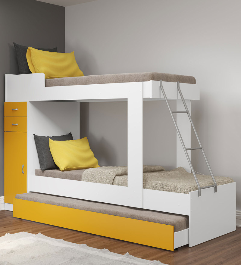 McHannah Storage Bunk Bed with Trundle in Yellow & White by Mollycoddle