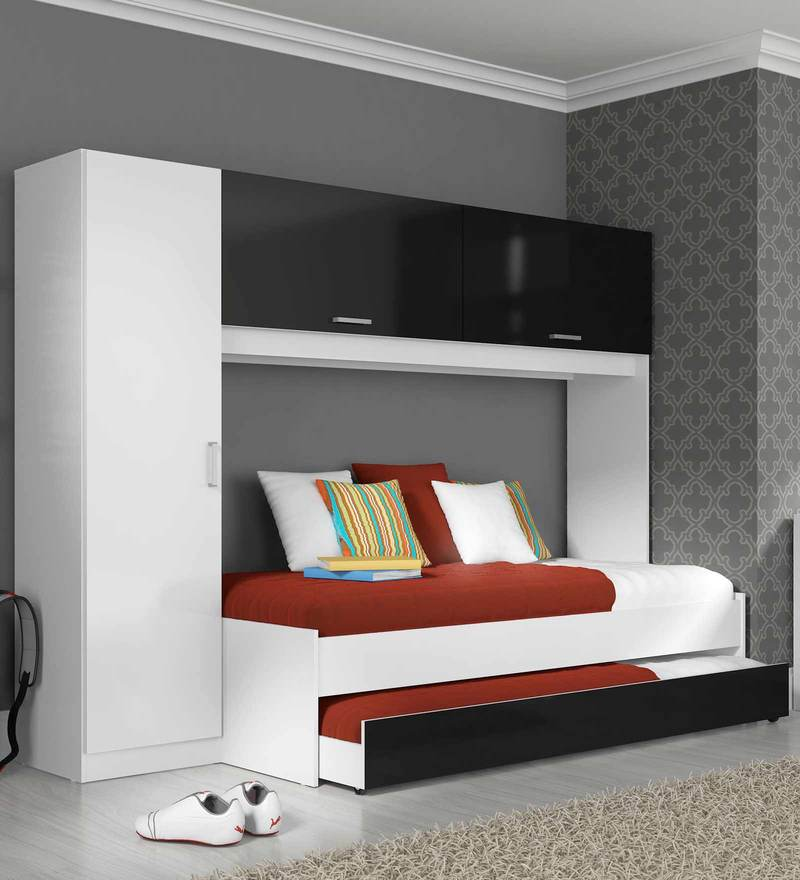 McIvan Trundle Bed Set with Wardrobe in Satin White & Black by Mollycoddle