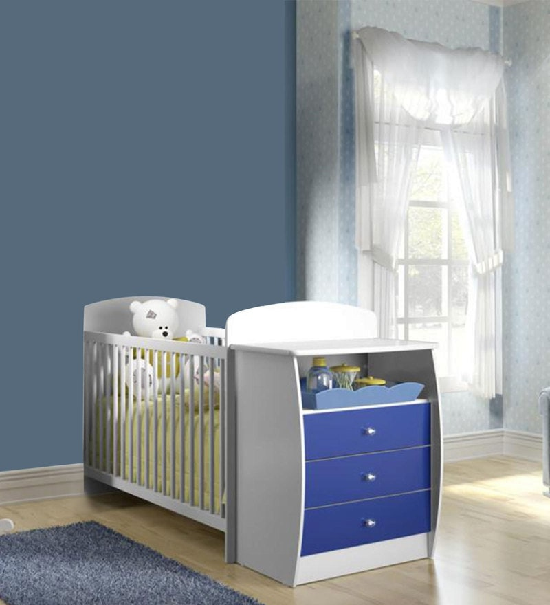 McKevin Baby Crib w Chest in Satin White & Blue by Mollycoddle
