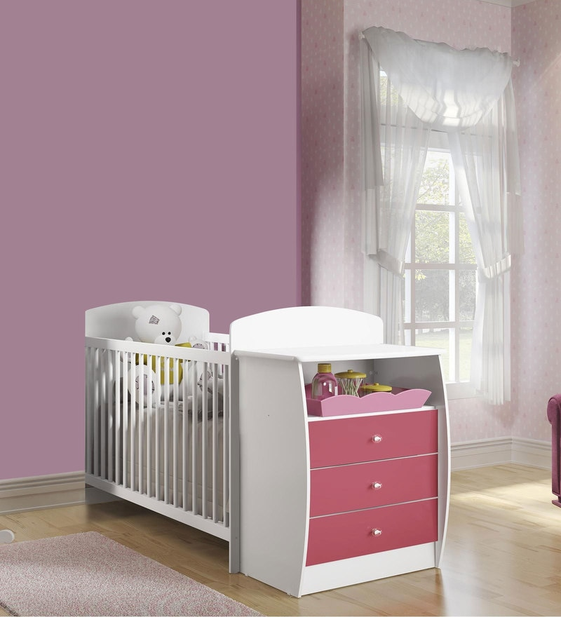 McKevin Baby Crib with Chest of Drawers in Satin White & Pink by Mollycoddle