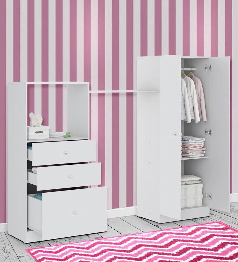 McKevin Chest of Drawers with Wardrobe in Satin White by Mollycoddle
