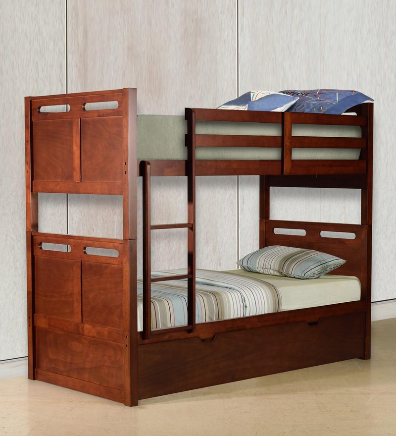 McLuis Bunk Bed with Pull Out Bed in Walnut Finish by Mollycoddle