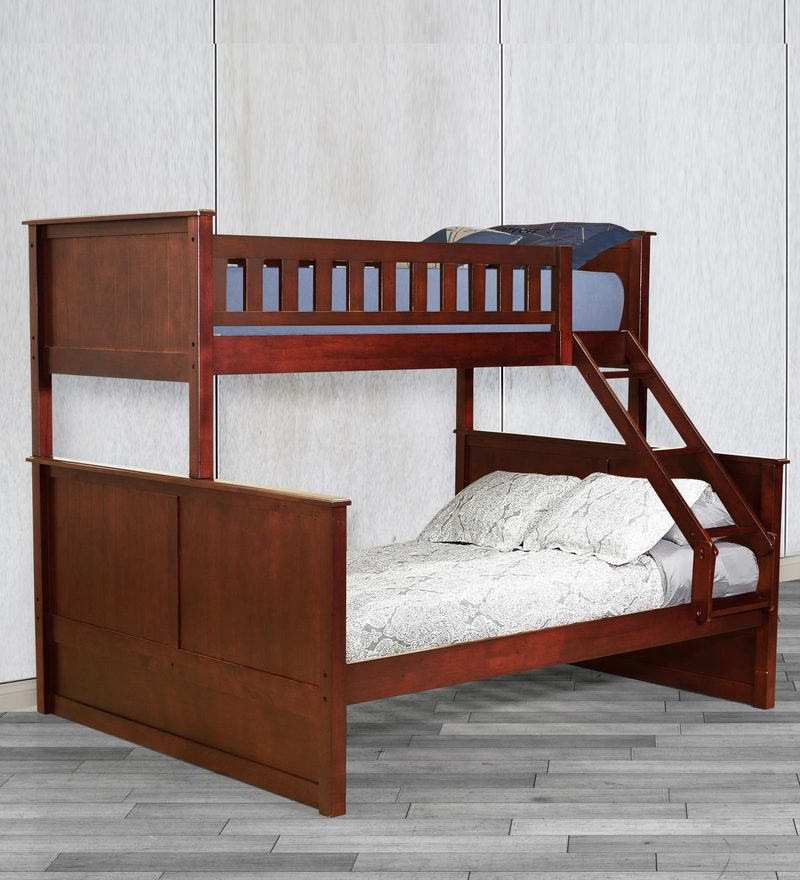 McTaylor Bunk Bed (Single & Queen) in Walnut Finish by Mollycoddle