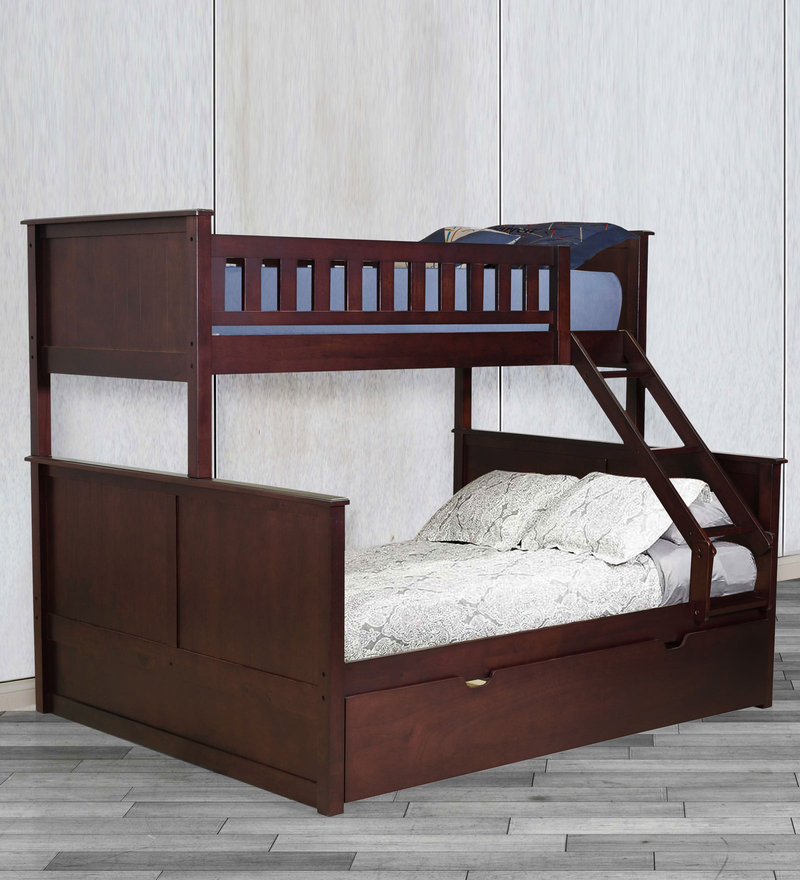 McTaylor Bunk Bed (Single & Queen) with Pull Out Bed in Wenge Finish by Mollycoddle