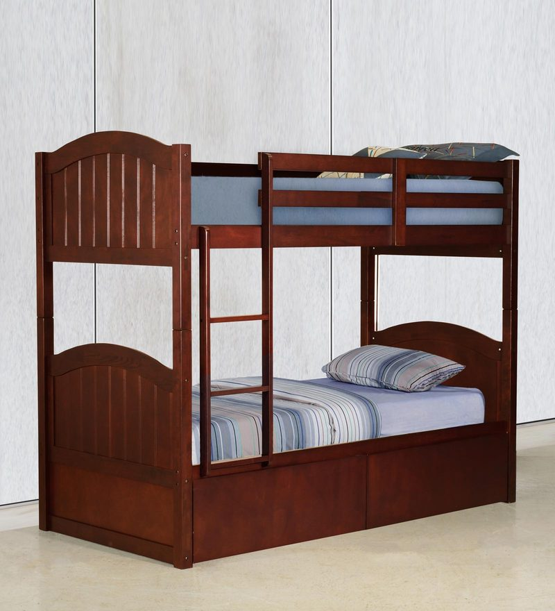 McXander Bunk Bed with Drawer Storage in Walnut Finish by Mollycoddle