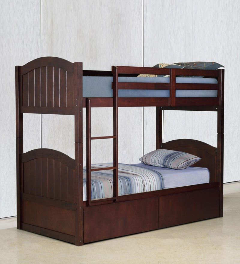 McXander Bunk Bed with Drawer Storage in Wenge Finish by Mollycoddle