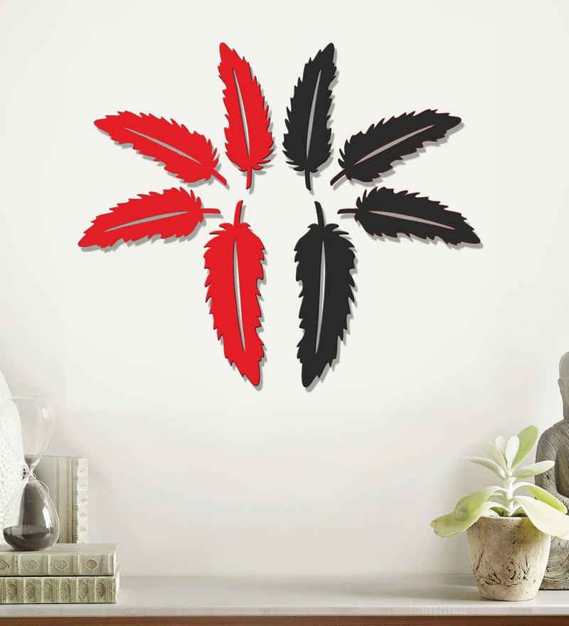 Mdf Multicolour Feathers Wall Decals by Sehaz Artworks