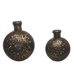 Metallic Iron Handmade Decorative Kudia Tea Light Holders - Set Of 2