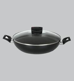 Meyer Safecook Non-Stick 7.8 Inch Black Aluminium Kadhai With Lid ,1510 ML