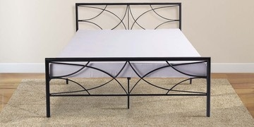 Aika Queen Size Metal Bed In Black Finish By Mintwud