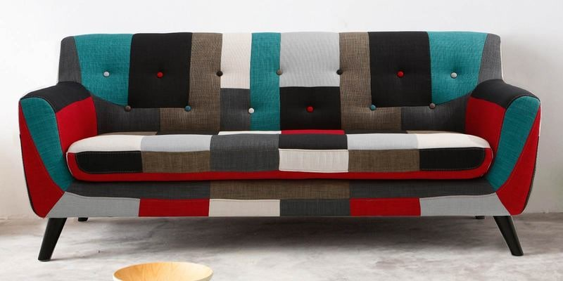 Medellin Three Seater Sofa in Red Multi Colour by CasaCraft