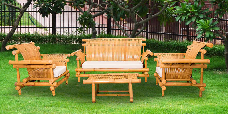 Merak Bamboo Four Seater Patio Set with Center Table in Natural by Indigrass