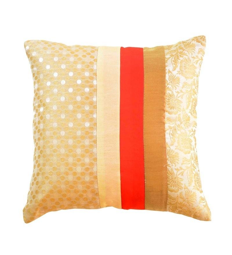 Beige Brocade 16 x 16 Inch Cushion Cover by Me Sleep