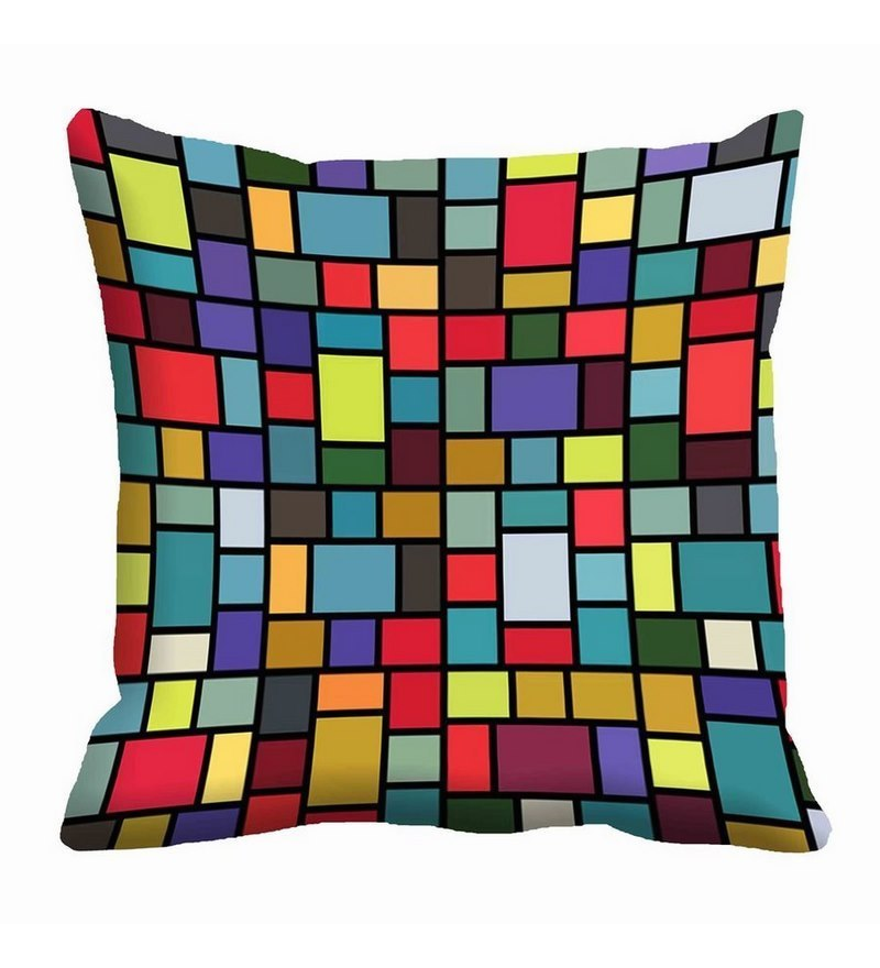 Checks Multicolor Satin 16 x 16 Inch Cushion Cover by Me Sleep