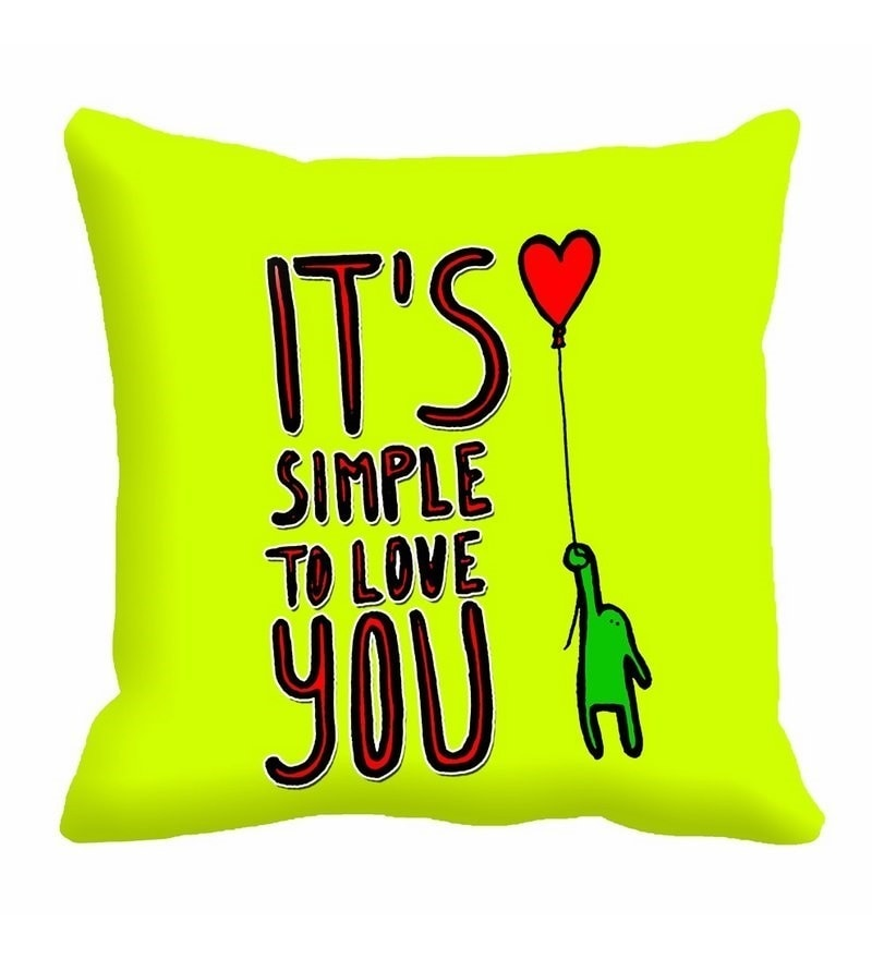 Green Cotton 16 x 16 Inch It's Simple to Love You Digitally Printed Cushion Cover by Me Sleep