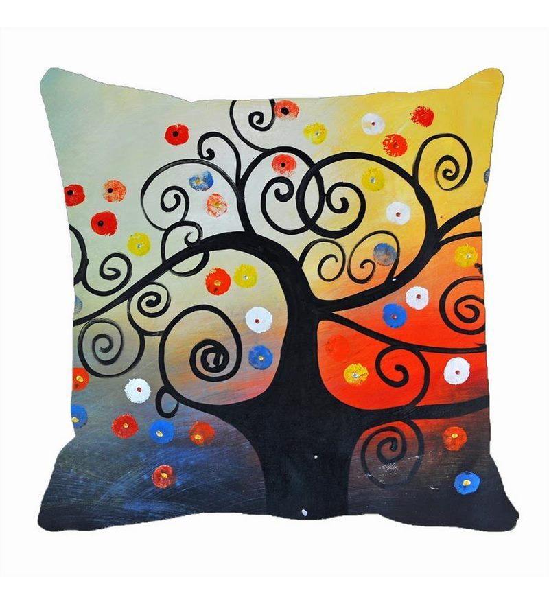 Me Sleep Multicolor Satin 16 x 16 Inch Cushion Cover