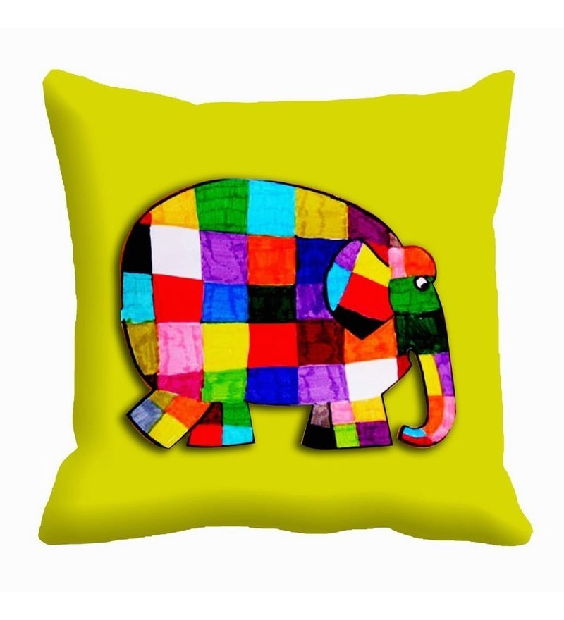 Multicolor Satin 16 x 16 Inch Elephant Patchwork Cushion Cover by Me Sleep