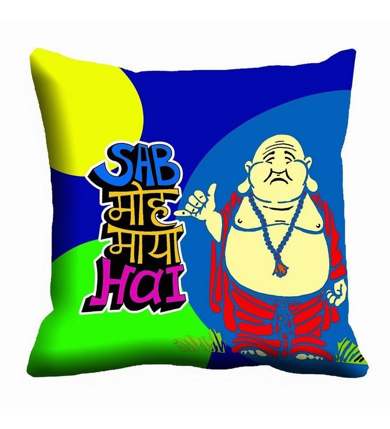 Multicolor Satin 16 x 16 Inch Funny Quote Digitally Printed Cushion Cover by Me Sleep