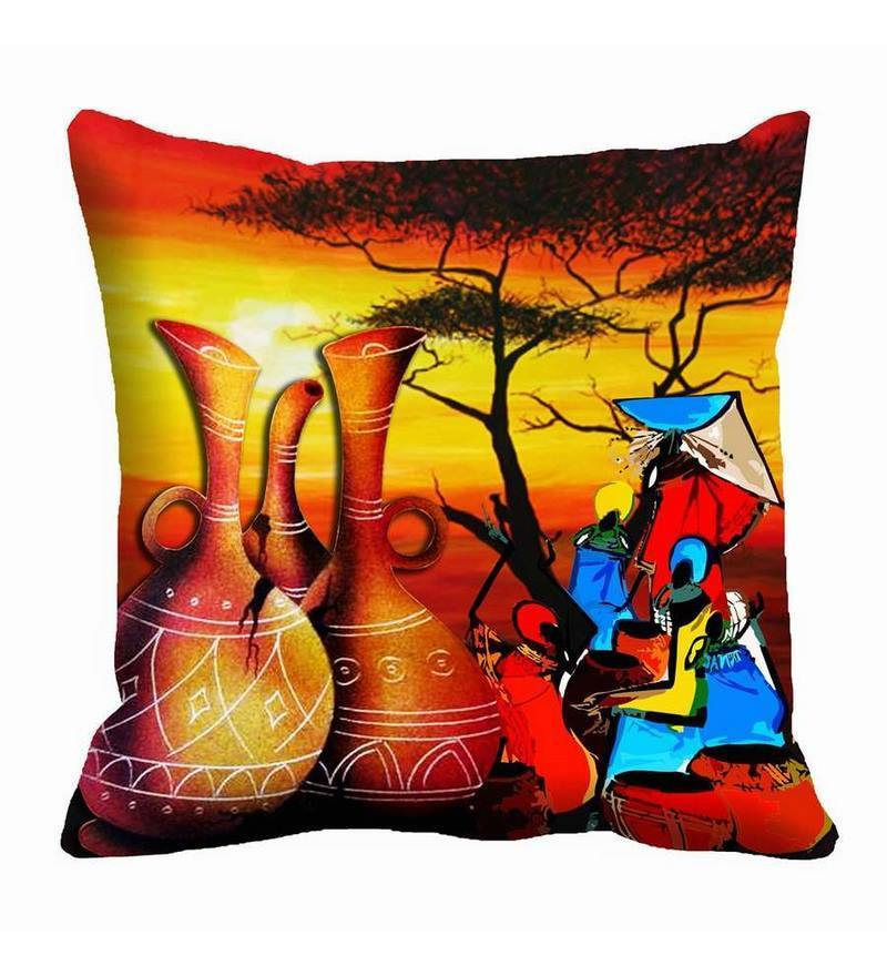 Multicolor Satin 16 x 16 Inch Pots & Women Cushion Cover by Me Sleep