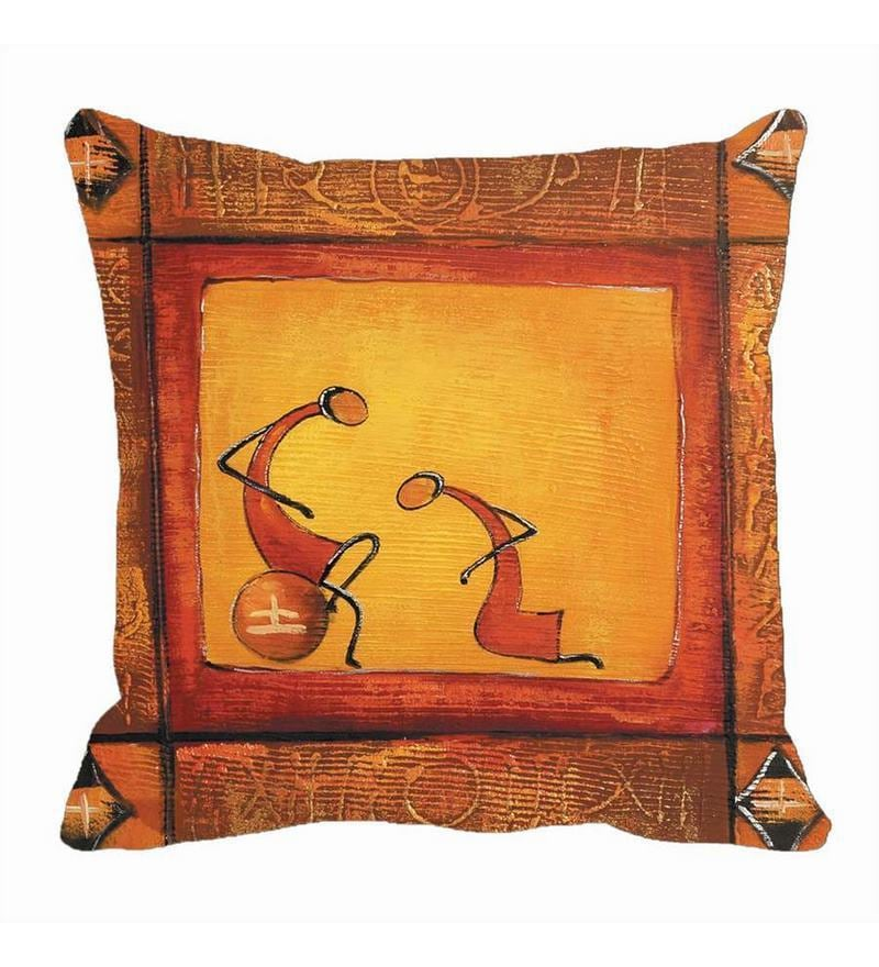 Orange Satin 16 x 16 Inch Cushion Cover by Me Sleep