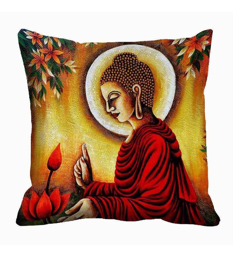 Red Satin 16 x 16 Inch Buddha Cushion Cover by Me Sleep