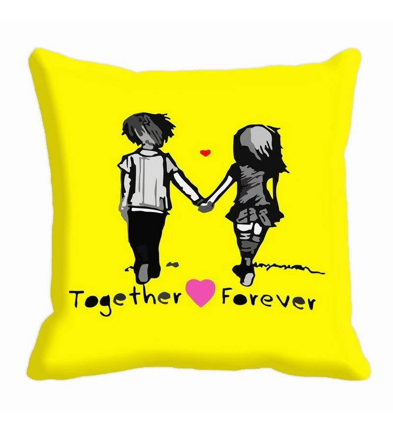 Yellow Microfibre 16 x 16 Inch Cushion Cover by Me Sleep