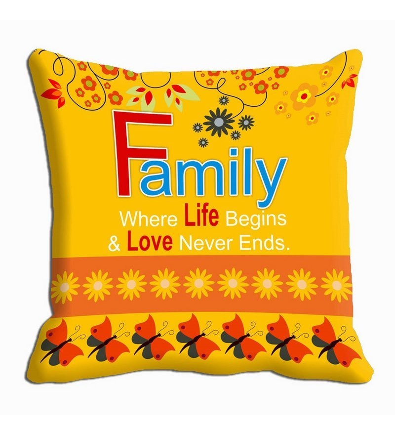 Yellow Satin 16 x 16 Inch Cushion Cover by Me Sleep
