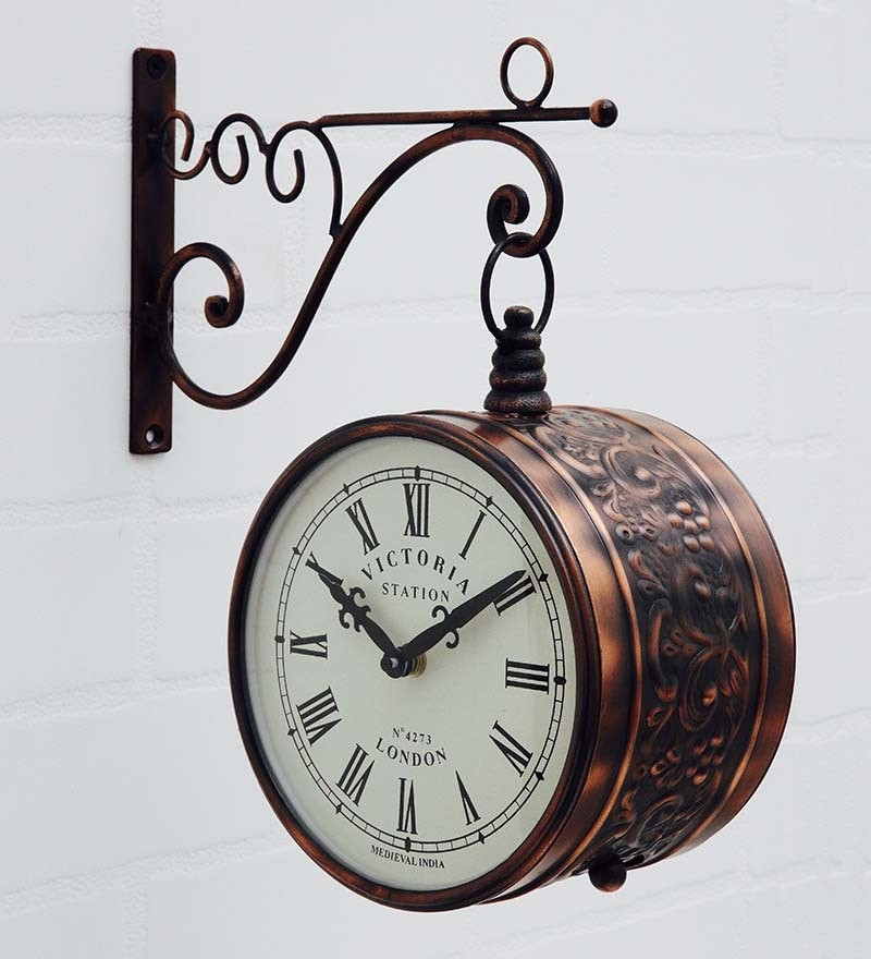 Brown Metal Victoria Station Double Side Bronze Wall Clock by Medieval India