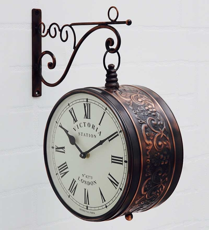 Bronze Metal Victoria Station Double Side Wall Clock with Designer Rim by Medieval India