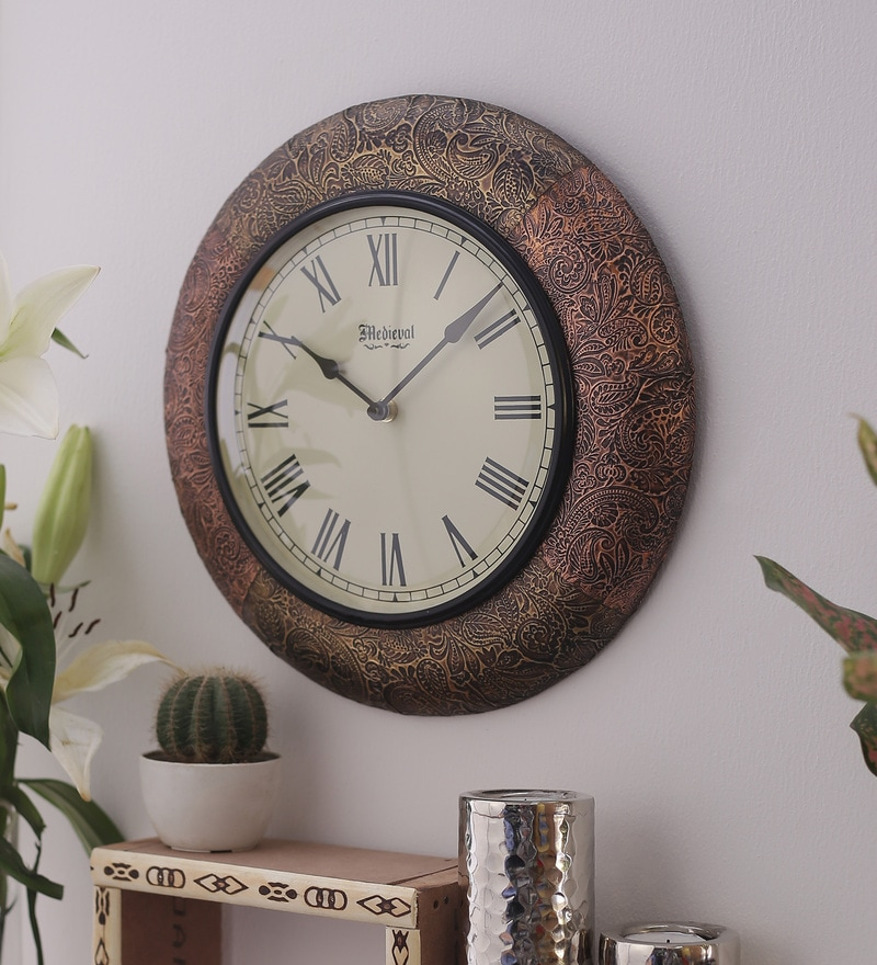 Antique Gold & Copper Wooden 11.4 Inch Numeral Round Wall Clock by Medieval India