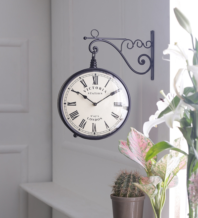 Black & Antique Gold Iron 11.2 x 5.7 x 12.5 Inch Victoria Station Divine Wall Clock by Medieval India