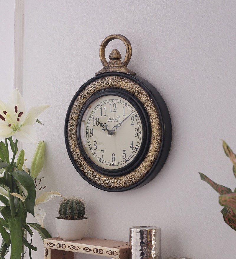 Black & Antique Gold Wooden 9.4 x 1.2 x 12.6 Inch Pocket Watch Style Clock by Medieval India