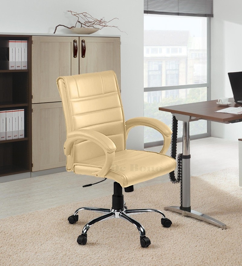 Medium Back Revolving Chair with Centre Tilt Mechanism in Beige Colour by Debono