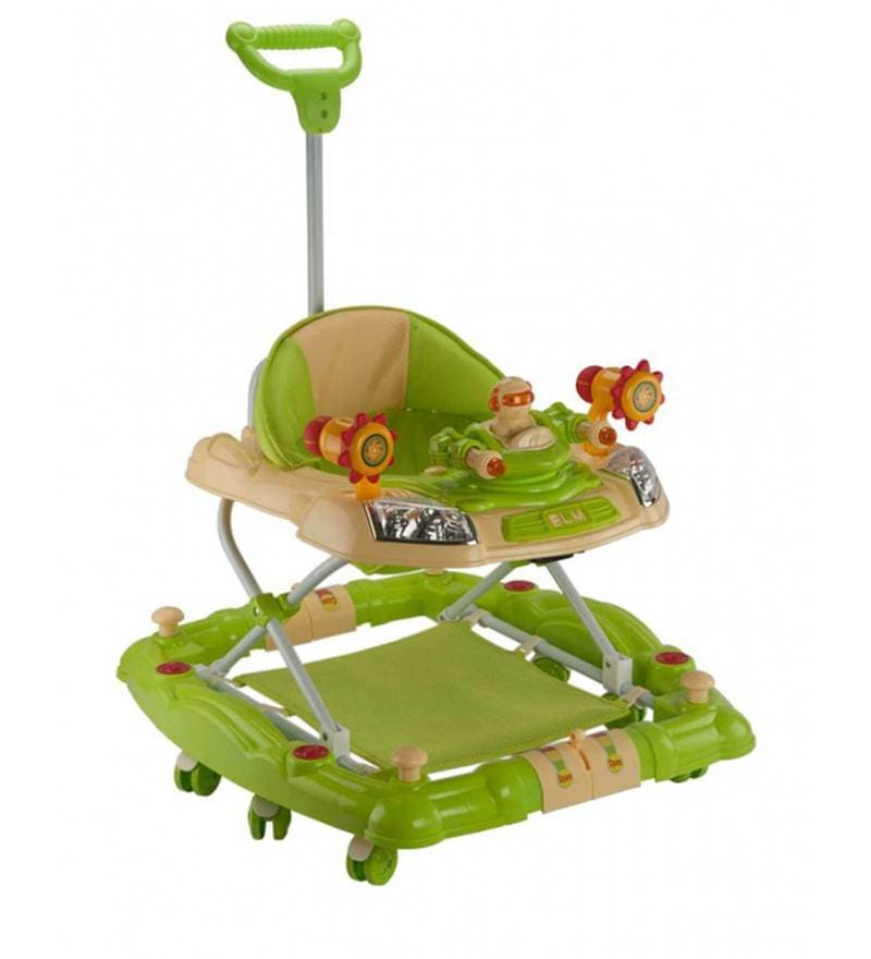 Baby Walker cum Rocker with Adjustable Height in Green Colour by Mee Mee