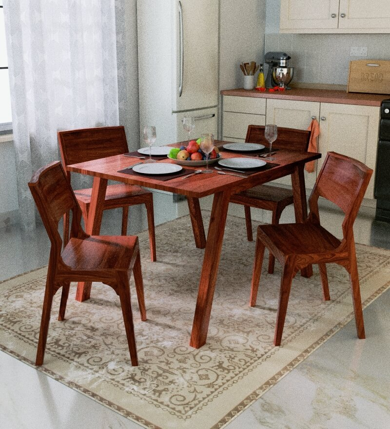 Freemont Four Seater Dining Set in Honey Oak Finish by Woodsworth