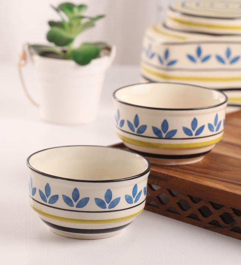 Meraki By Sonal Atai Turquiose And Green Ceramic 200 ML Breakfast Serving Bowl - Set Of 4