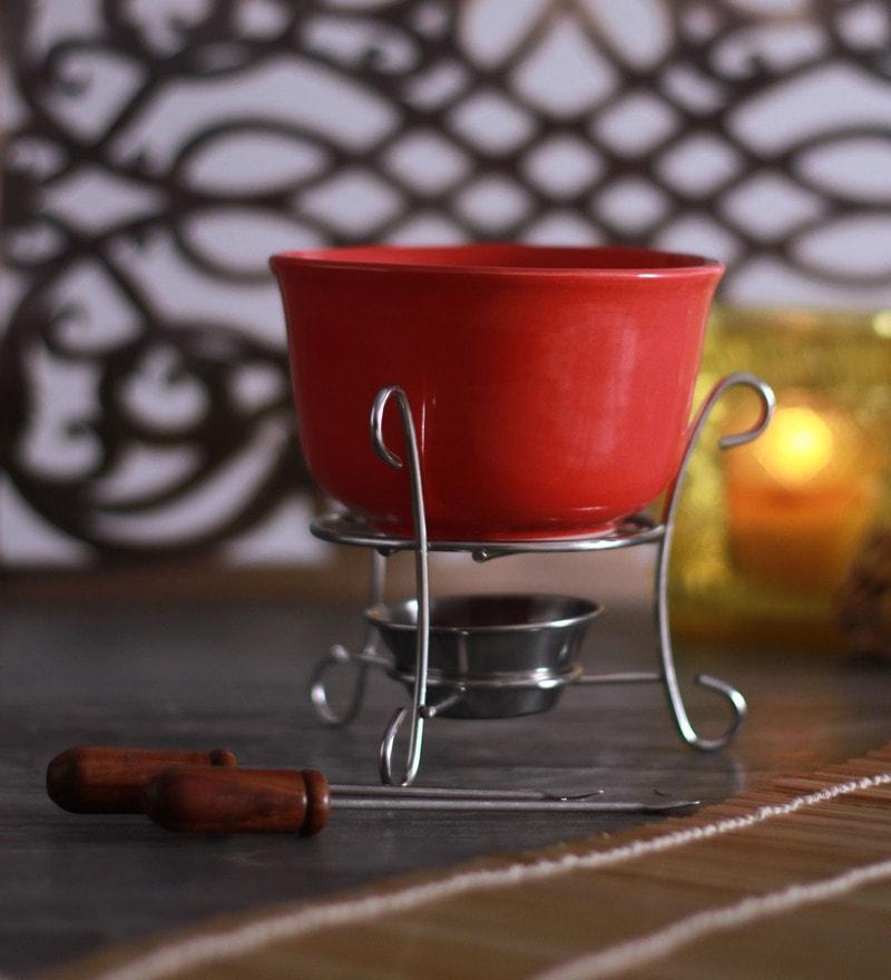 Meraki by Sonal Cherry Ceramic & Stainless Steel 300 ML Fondue Set - Set of 5
