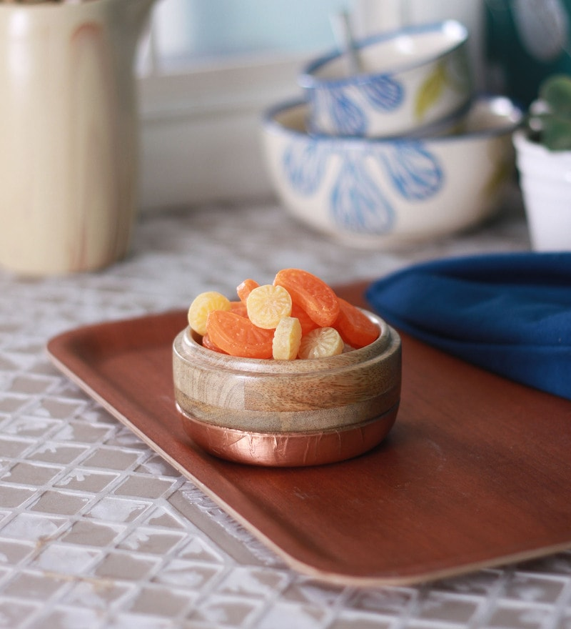 Meraki by Sonal Small Mango Wood & Metal Nut Bowl