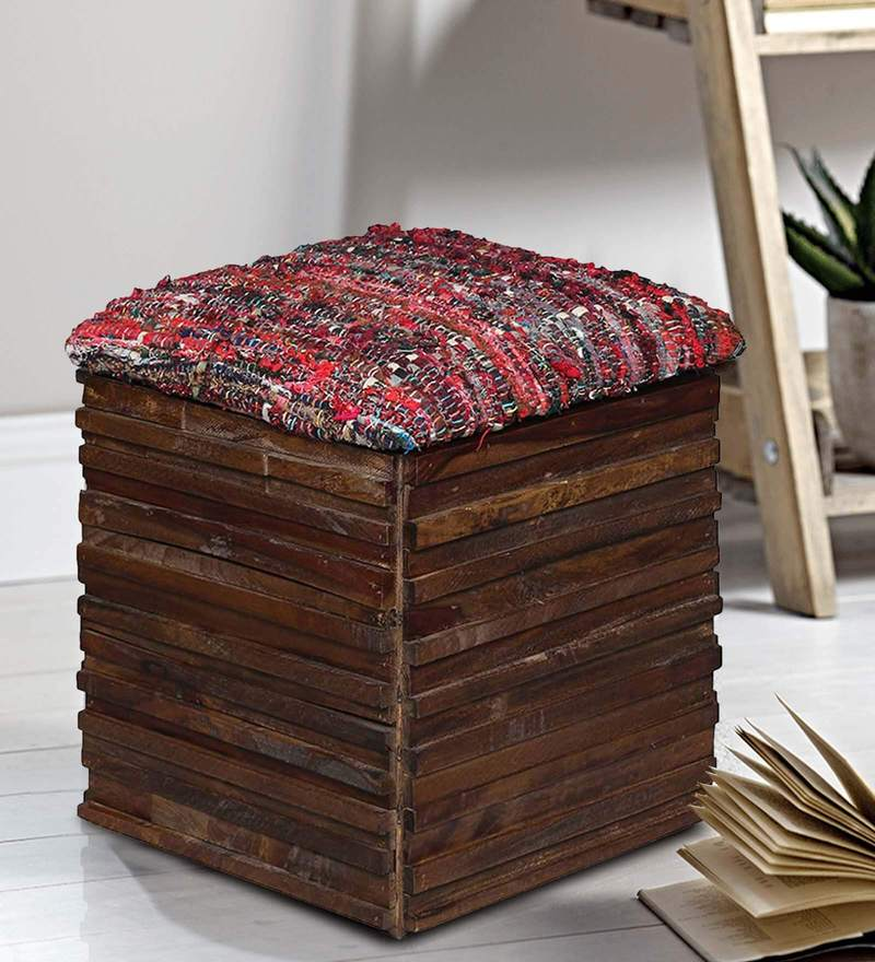 Mexico Storage Pouffe in Provincial Teak Finish by Woodsworth