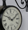 Black & Antique Gold Iron 9 x 5.4 x 12.5 Inch Victoria Station Stunning Wall Clock by Medieval India